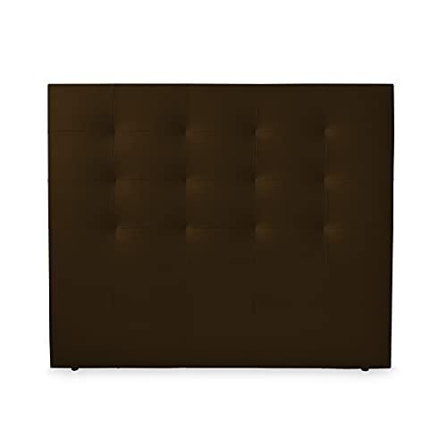 Duérmete Online 160 x 120 cm (Cama de 150) Cabecero París Acolchado | Tapizado en Polipiel de Alta Gama | Medidas, Madera, Chocolate