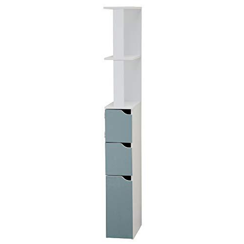 Selsey Carinda – Badregal / Badezimmer Regal, MDF Board, Weiß und Hellblau, 136 x 15.2 x 33 cm