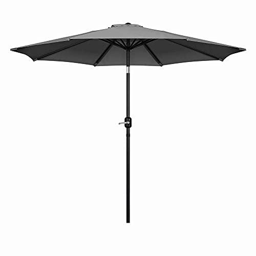 Mondeer 2.7M Sonnenschirm, Kippbarer Gartenschirm, Marktschirm mit Handkurbel, UV-Schutz Terrassenschirm, Durchmesser ø38mm, Grau