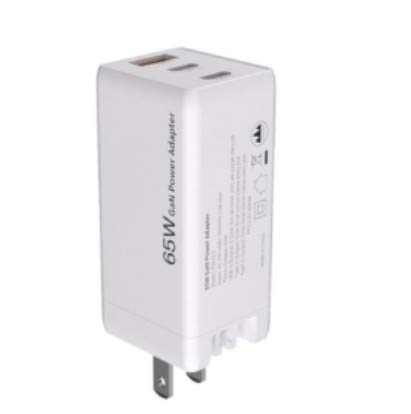GaN 65W Fast PD Charger for iPhone 11 Pro Macbook 3 Port USB Type C QC 4.0 Charger Adapter Wall Charger,US white 65W GaN