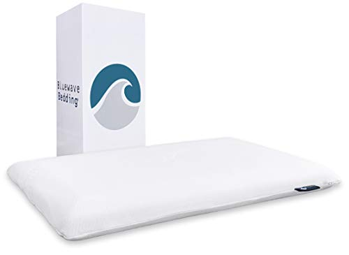 Bluewave Bedding Hyper Slim Gel Memory Foam Pillow for Stomach and Back Sleepers - Thin and Flat Design for Spinal Alignment, Better Breathing and Enhanced Sleeping (Standard Size)