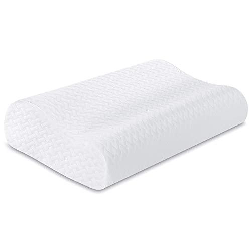 RIPPLE Almohada Cervical, Almohada Viscoelástica para Dormir con Altura Ajustable, Forma Ergonómica Adecuada , Funda de Almohada Extraible y Lavable, 60*35*9/11cm (Blanco, 60x35cm)