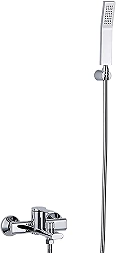 NFRMJMR Grifo mezclador de llenado de baño con ducha de mano, baño montado en la pared kit de grifo de ducha bañera de latón mezclador grifo grifo manija de un solo mango de relleno grifo cromado