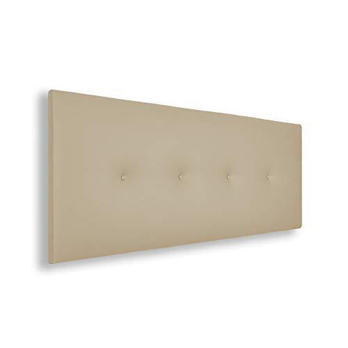 Silcar Home | Cabecero de Cama Tapizado en Polipiel con Hilera de Botones, Modelo Silvi (Beige, 145 cm) | Cabecero Acolchado | Cabezal Tapizado | Cabecero Original