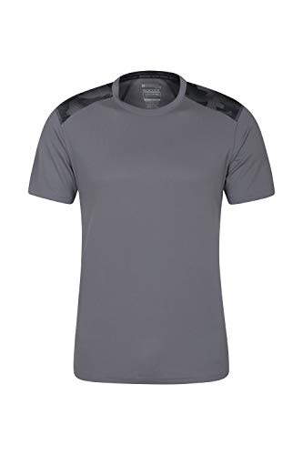 Mountain Warehouse Camiseta Aspect Serigrafiada, para Hombre - Ligera, Alta absorción de la Humedad, Secado rápido, Cuidado fácil - Ideal para Viajes y acampadas Camuflado XS