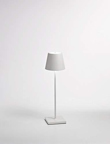 Ai Lati Aluminium Tischleuchte/Tischleuchte Poldina in Weiß | Handgefertigt in Italien | Tischlampe Modern Design weiß | Lampe LED