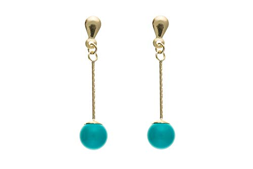 9ct Gold Real Turquoise Drop Earrings