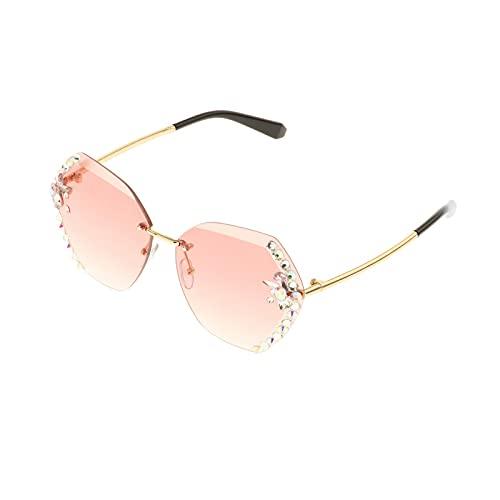 Harilla Gafas de Sol Vintage de Gran tamaño sin Montura con Diamantes de imitación para Mujer, Gafas de Sol con gradiente Retro, Gafas de Sol UV400 para - Rosa