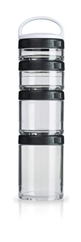 BlenderBottle C00301 GoStak Twist n' Lock Storage Jars, 4-Piece Starter Pak, Black