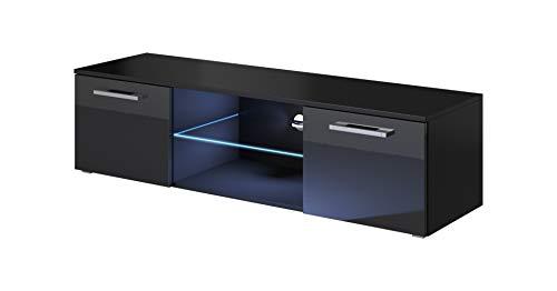 e-Com - Meuble TV Buffet ZEUS - 140 cm - Noir