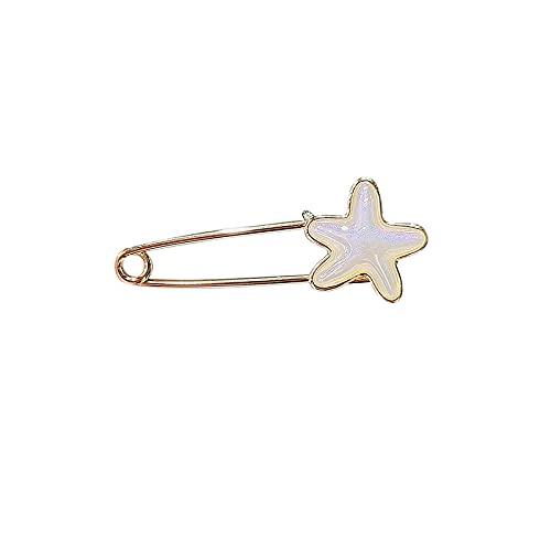 ROTOOY Broche Mujer Verano ins Estrella de mar Pin DIY Pantalones Cambio de Cintura pequeño botón Anti-luz Camisa Collar Pin