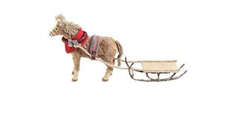 Großes Weihnachtspferd mit Schlitten aufwendig in Handarbeit gefertigt Weihnachtsfigur Weihnachtsdekoration Deko für Weihnachten