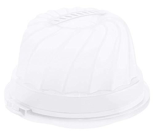 Rotho Fresh Kuchenbehälter für Gugelhupf mit Haube und Tragegriff, Kunststoff (PP) BPA-frei, weiss/transparent, 30,5 x 28,5 x 17,5 cm