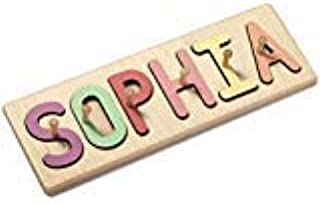 South Bend Woodworks Kids Custom Wooden Peg Name Puzzle - Up to 9 Characters (Including Spaces)