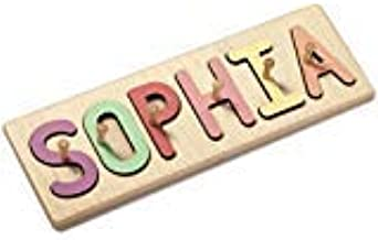 South Bend Woodworks Kids Personalized Wooden Peg Name Puzzle - Up to 9 Characters (Including Spaces)