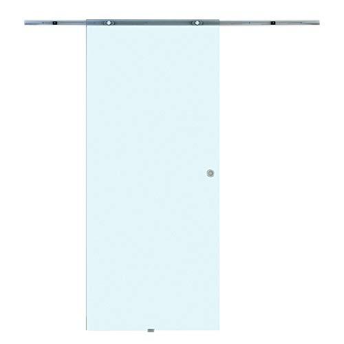 HOMCOM Porta Scorrevole Interna in Vetro Smerigliato con Binario B3 in Alluminio per Bagno Cucina Studio Vetro 205x 77.5x 0,8cm