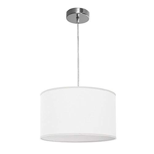 TODOLAMPARA Lámpara colgante de tela modelo Nicole color blanco 1 bombilla E27 30cm diámetro altura regulable