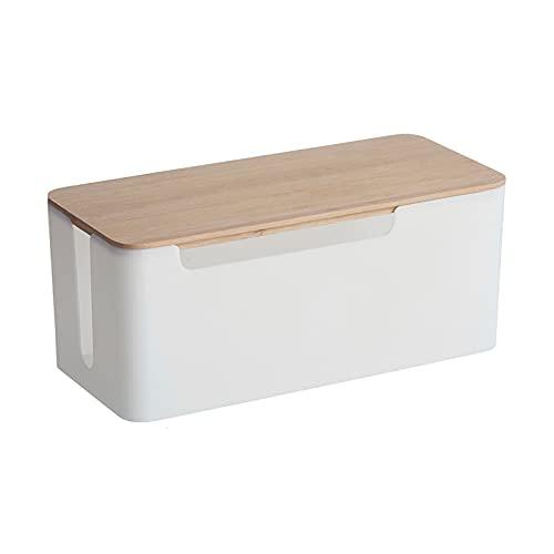 zlw-shop Caja de Organizador de Cable Blanco de Gran Capacidad con Cubierta...