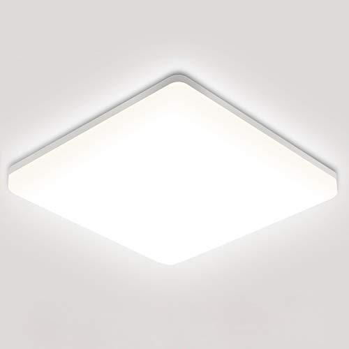 18W Plafoniera LED, Oeegoo 1800LM Lampada da soffitto LED, IP44 impermeabile plafoniera luce quadrata per soggiorno Sala da pranzo Camera da letto Bagno Cucina Balcone Corridoio, 4000K