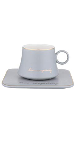 Primst Kaffeetassen Set mit Untertasse,Espressotassen Set Porzellan,Cappuccino Set (160ml/5.4oz,Grey)