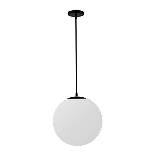 Araña de iluminación de techo de una sola cabeza blanca bola de cristal LED lámpara colgante de luz para la cocina Restaurante Cafe Hotel Foyer Decoración (Negro, 20CM)