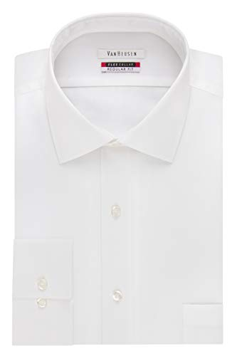 "Van Heusen Men's Flex Collar Regular Fit Solid Spread Collar Dress Shirt, White, 17.5"" Neck 34""-35"" Sleeve"