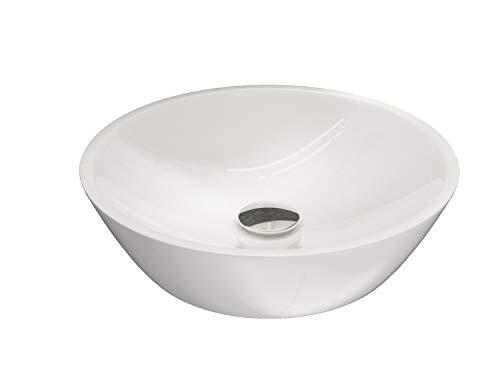Aqua Bagno KR-45 Aufsatzwaschbecken, Waschschale aus Keramik, Waschbecken rund 45cm, Handwaschbecken