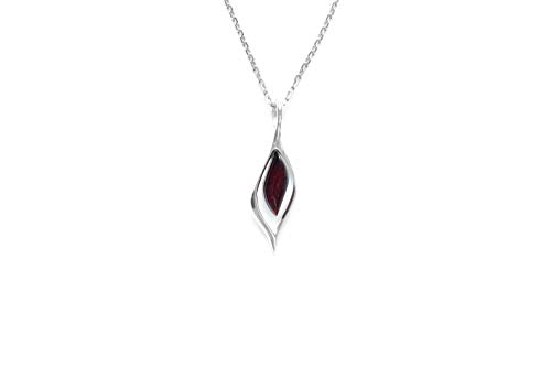 Cherry Amber Modern Necklace | Baltic Amber Pendant with Sterling Silver