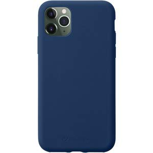 Cellularline Sensation Blau Backcover Soft Touch Silikon Case Cover mit weichem kratzfestem Mikrofaser-Innenfutter passend für Apple iPhone 11 PRO