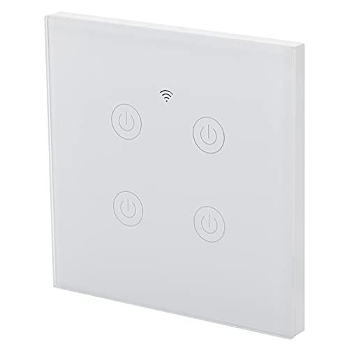 Interruptor de ventilador inteligente, ABS Interruptor de luz inteligente de 4 vías Función de sincronización antiarañazos Retardante de llama con retroiluminación LED para el hogar(Zigbee, rosado)
