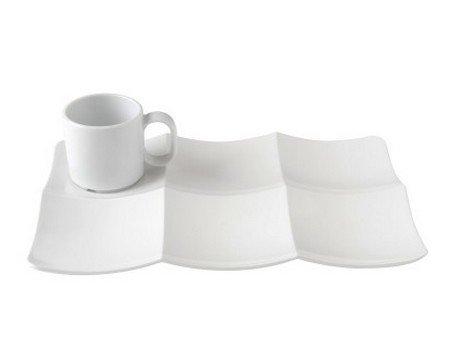Assiette rectangulaire compartimentée en porcelaine blanche modèle Api