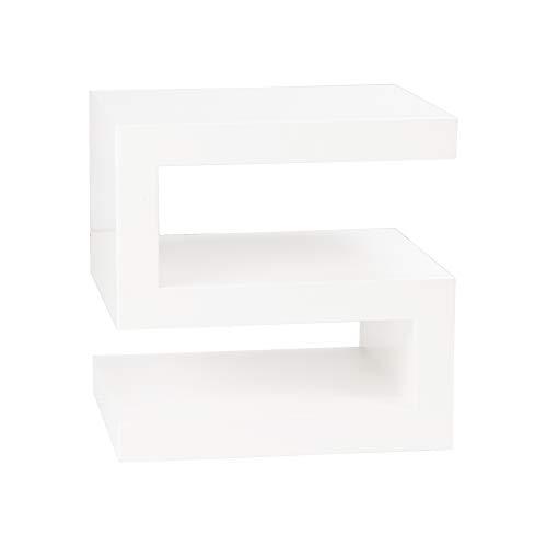 Dugar Home Mueble Auxiliar - Mesas de Centro Auxiliares - Mesita Lacada Blanca DT-2520