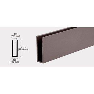 """CRL Dark Bronze 1/4"""" Aluminum U-Channel with 1-5/16"""" High Wall - 12 ft Long"""