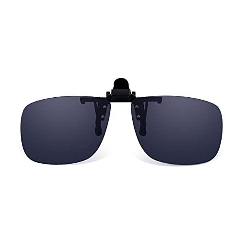 Read Optics Clip-On Sunglasses: Gafas de Sol con Clip Flip-Up para Gafas Graduadas de Hombre y Mujer. Lentes Polarizadas UV400 Protección 100% UV - en Gris Humo, Sin Montura, de Policarbonato