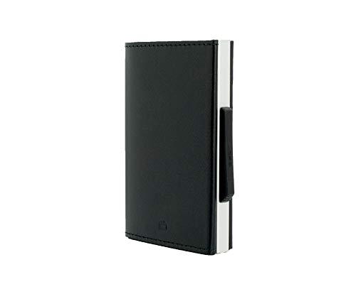 Ögon Smart Wallets - Cascade Wallet Cartera Tarjetero - Protección RFID: Protege Tus Tarjetas de Robar - hasta 8 Tarjetas + Recetas + Notas - Aluminio anodizado y Cuero Italiano Genuino (Negro)