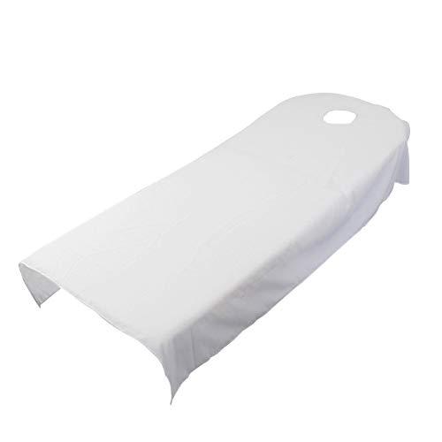 Sabana bajera para camilla de masaje, de UXELY, para tratamientos de belleza y masajes, salón, spa, con agujero, White 120cmx190cm