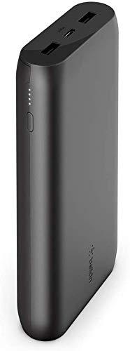 Belkin batería externa 20K Boost Charge (cargador portátil con dos puertos USB, 20 000 mAh de capacidad, power bank para iPhone, iPad, AirPods y otros), negro