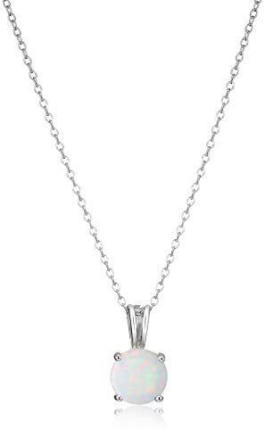 Amazon Essentials Sterling Silver Round Cut Created Opal Birthstone Pendant Necklace (October), 18'