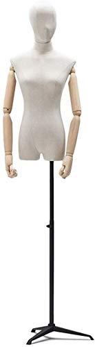 Maniquí Ajustable Maniquí Maniquí Torso Que Muestra la Mitad de Longitud Moda Ropa de diseño Pantalla Negro Metal Base de trípode