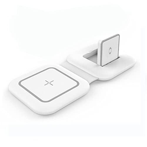 Enkomy Cargador inalámbrico magnético, Base de Carga magnética Plegable portátil 2 en 1 de 15 W Compatible con iPhone 12 / iWatch/AirPods, Blanco