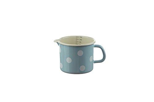 Münder Emaille - Milchtopf, Schnabeltopf - Emaille - Farbe: Blau mit weißen Punkten - 1 Liter - alle Herdarten