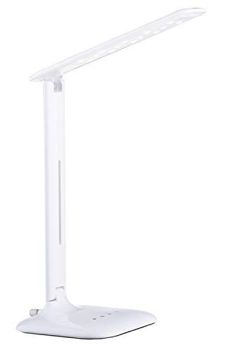 EGLO LED Tischlampe Caupo, 1 flammige Tischleuchte mit Touch, Farbtemperaturwechsel (warm, neutral, kalt), dimmbar, Schreibtischlampe aus hochwertigem Kunststoff und Stahl, Bürolampe in Weiß