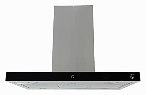 KundH® 90cm Dunstabzugshaube, Inselhaube, LED, 650 m³/h, Energieklasse A, Metall-Fettfilter ISA-90