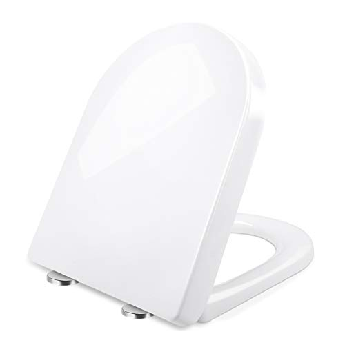 Toilettendeckel, Renfox WC Sitz mit Softclose Absenkautomatik, Klodeckel mit Quick-Release Funktion für leichte Reinigung, Edelstahl-Befestigung, Antibacterial Toilet Seat D-Shape PP Toilet Seat