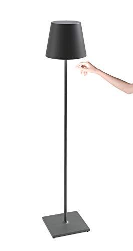 Zafferano Poldina Pro XXL - Lámpara LED Regulable de Pie y Mesa (150 cm/81 cm/69 cm) Base de Carga por Contacto, Enchufe EU, Gris Oscuro