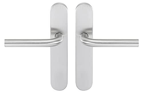 Bricard 666459 - Juego de tiradores de acero inoxidable sobre placa Tempo New Wave para puerta interior sin llave, diseño de caña