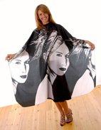 Hair Tools Robe negra y blanca de retrato ht60572