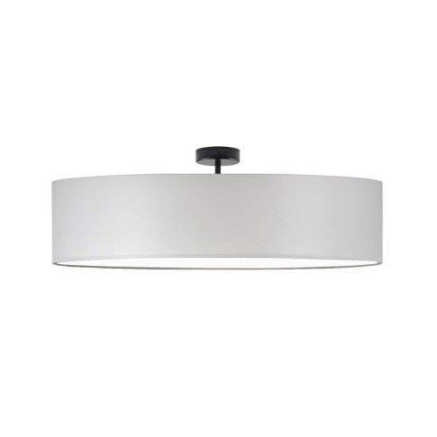 Lámpara de techo Grenada fi 80 cm, pantalla gris claro, marco negro, 5 bombillas E27