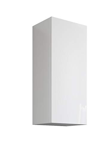 MaMa Store Atena Pensile Singolo Reversibile con sistema di apertura push and pull, Laminato, Bianco Lucido Laccato L. 30 X P. 22 X H. 71 Cm