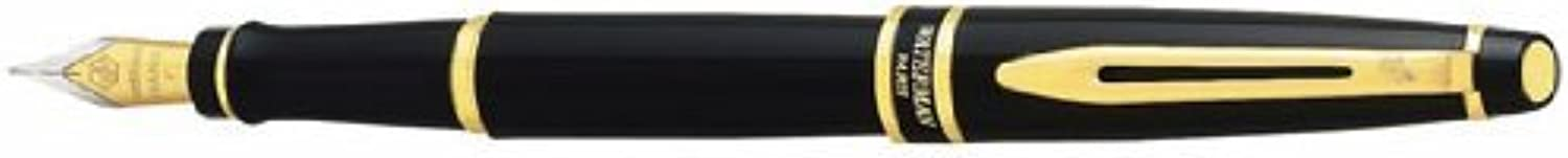 Expert II Fountain Pen, Medium Nib, Black Lacquer gold (WAT10021W3) by Waterman